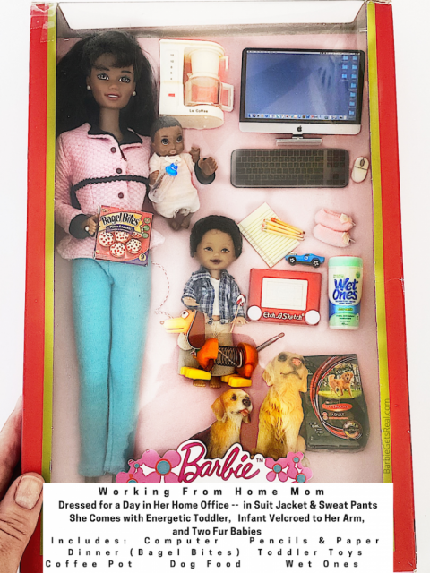 working from home mom barbie